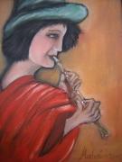tableau personnages joueuse flute rouge : la joueuse de flute