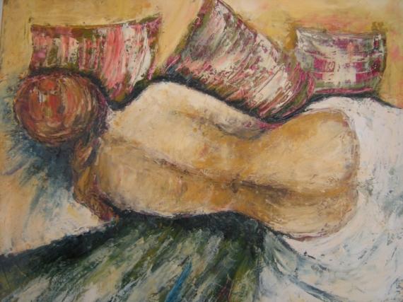 TABLEAU PEINTURE Nus Peinture a l'huile  - nu aux coussins