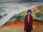 tableau paysages : femme devant l'océan