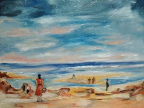 TABLEAU PEINTURE plage mer ciel lumiere Paysages Peinture a l'huile  - ciel et plage de bretagne