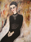 tableau personnages : femme en noir