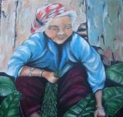 tableau personnages laos femme : vieille femme Lao