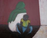 tableau personnages africaines mere et fille ombre et lumiere : femme africaine et petite fille