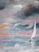 tableau paysages voile blanche nuages bretagne mouettes ciel orageu : grande voile blanche dans le couchant
