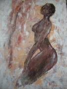 tableau personnages nu femme africaine : jeune fille africaine