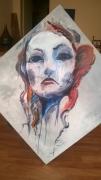 tableau personnages femme tristesse larmes visage : Detresse