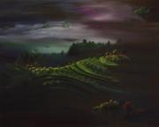 tableau paysages crepuscule nuit montagne vergers : Crépuscule