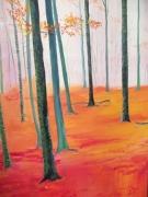 tableau paysages arbres foret bois : Murmures en forêt