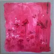 tableau fleurs coquelicots fleurs fleurs des champs champ de coquelicots : Rose coquelicots
