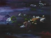 tableau paysages aube montagne foret : Aube