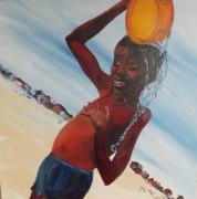 tableau personnages enfant haiti eau : Petit haïtien