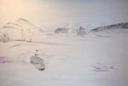 tableau paysages neige tempete ardeche froid : Tempête de neige