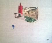 tableau paysages maroc atlas desert village : Minaret