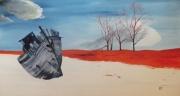 tableau paysages bateau neige arbres : Naufrage