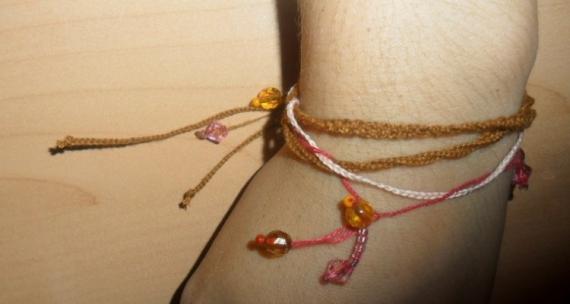 BIJOUX marron rose perles Paysages  - Indian