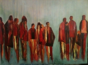 tableau abstrait : sous la pluie