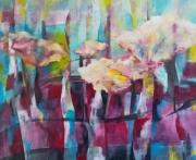 tableau abstrait : couleurs printanières