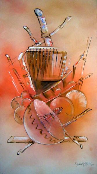 TABLEAU PEINTURE Abstrait Acrylique  - Instruments de musique