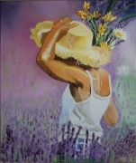 tableau personnages lavande provence jeune fille fleurs : Jeune Fille à la Lavande