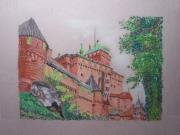 dessin paysages alsace chateau fortification : Le Haut Koenigsbourg
