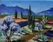 tableau paysages provence olivier cypres mas : Couleur de Provence