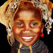 tableau personnages visage pastel collier : Fille au collier