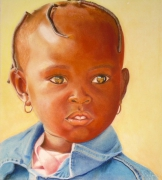 tableau personnages fillette visage portrait pastel : Tresses et boucles