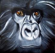 tableau animaux acrylique portrait singe animal : Regard de bête N° 1