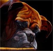 tableau animaux acrylique chien : Le boxer d'Emilien