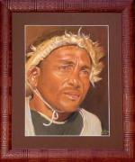 tableau personnages visage homme pastel : Le Cavalier