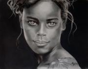 tableau personnages visage pastel portrait : La fille aux yeux clairs