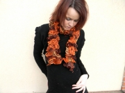 art textile mode echarpe cancan echarpe froufrou echarpe volant accessoire de mode : echarpe cancan orange