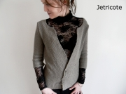 art textile mode gilet createur mode femme unique original : gilet manches 3/4