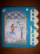 autres autres fillette ruban papillon bleu : Carte fillette bleu