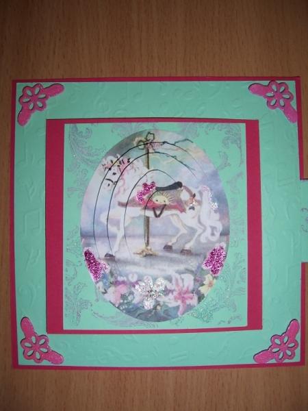 AUTRES manège cheval rose anniversaire  - Carte manege