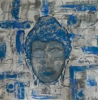 Tableau bouddha bleu