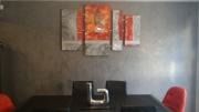 tableau abstrait design tableau rouge gris : Design rouge et gris