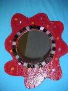 artisanat dart miroir carton deco rouge mosaique peinture : Miroir déco carton