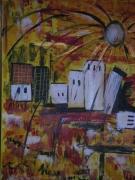 tableau paysages paysage ocre jaune abstrait tableau : Soleil d'or