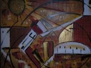 tableau abstrait ocre jaune or feu paysage : SOUS LE FEU