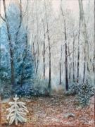 tableau paysages hiver froidure gel arbres : Givre