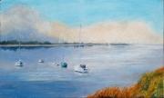 tableau marine mobihan aube bateaux brume : Calme