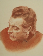 tableau personnages brassens sanguine portrait pastel : Georges Brassens