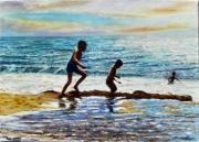 tableau marine plage mer reflets enfants : Jeu de plage