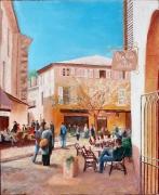 tableau villes scene de rue village provencal loumarin peinture : Place de village