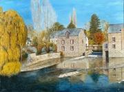tableau paysages vilaine moulin ,a eau reflets automne : Moulin d'Acigné