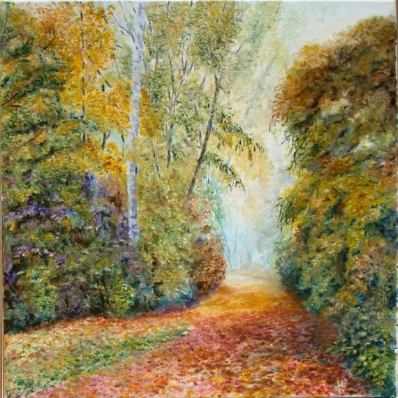 TABLEAU PEINTURE automne couleurs feuilles mortes arbres Paysages Peinture a l'huile  - Couleurs d'automne