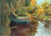 tableau paysages giverny automne monet barque : A Giverny