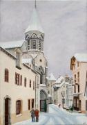 tableau villes condatcantal neige village auvergne : Condat-Cantal sous la neige