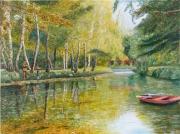 tableau paysages reflets riviere arbres pecheurs : La barque rouge